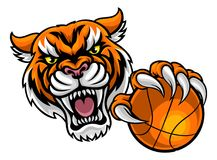 Tiger Holding Basketball Ball Mascot illustration stock