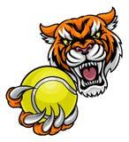 Tiger Holding Tennis Ball Mascot stock de ilustración