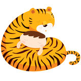 Tiger hug boy Stock Images