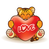 Tiger hugging a heart Royalty Free Stock Photo