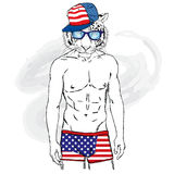 Tiger with a human body in swimming trunks. Vector for greeting card, poster, or print on clothing and accessories. Royalty Free Stock Photos