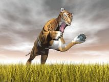 Tiger hunting - 3D render Royalty Free Stock Images