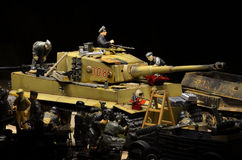 Tiger I German Battle Tank with company in the night background Stock Image
