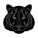 Tiger icon in black style isolated on white background. Realistic animals symbol stock vector illustration. Royalty Free Stock Photo