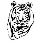 Tiger illustration in black lines Stock Photos