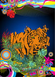 Tiger. Illustration of tiger in colorful background Stock Photos