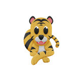 Tiger with illustration cute cartoon of paper cut Stock Images