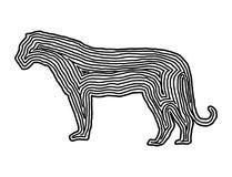 A tiger illustration icon in black offset line. Fingerprint styl Stock Images