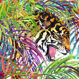 tiger illustration. Tropical exotic forest, white tiger, green leaves, wildlife, watercolor illustration. Stock Photography
