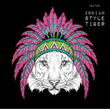 Tiger in the Indian roach. Indian feather headdress of eagle. Hand draw vector illustration