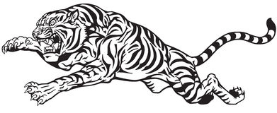 Tiger jump black and white. Jumping tiger. Aggressive big cat. Black and white tattoo vector Royalty Free Stock Photos