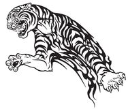 Tiger in the jump tribal tattoo. Tiger in the jump. Aggressive big cat . Black and white tribal tattoo style vector illustration Stock Photo