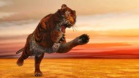 Tiger jumping - 3D render Stock Image