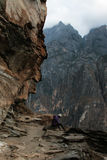 Tiger Jumping Gorge. Is the largest one in the Yangtze River china. Lying between the Haba Snow Mountain and Yulong Snow Mountain, it is named after the story royalty free stock photo