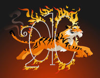 Tiger jumping through a hoop of fire. Tiger symbol of the year jumping through a hoop of fire Royalty Free Stock Photography