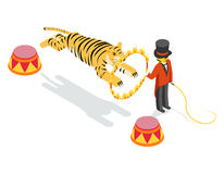 Tiger jumping through ring. Flat isometric 3d. Vector illustration. Fire and jump, show arena, striped and circle Stock Photos