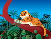 Tiger in jungle. Layered and grouped illustration for easy editing Stock Photography