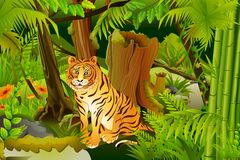 Tiger in Jungle royalty free illustration