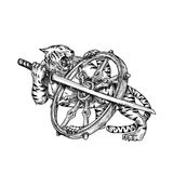 Tiger With Katana and Dharma Wheel Tattoo. Tattoo style illustration of a Tiger With Katana Samurai Sword and Dharma Wheel done in hand sketch drawing Tattoo Royalty Free Stock Photos
