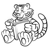 Tiger kid read a book Royalty Free Stock Images