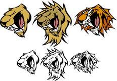 Tiger-Löwe-Puma-Maskottchen-vektorzeichen Stockbilder