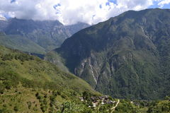 Tiger Leaping Gorge, Mountain View with Village - Yunnan China Stock Photography