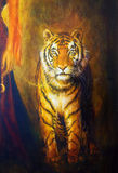 Tiger on a leash  and woman hand, color oil painting Stock Photography