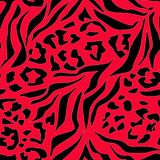 Tiger, leopard red and black abstract pattern. Colorful background stock illustration