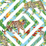 Tiger Leopard Seamless Tropical Leaves Geometrical Background Royalty Free Stock Image
