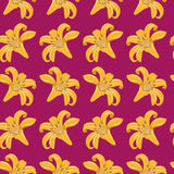 Tiger Lilies Seamless Texture. Pattern of tiger lilies on a burgundy background. Seamless texture. Textile Stock Photo