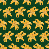 Tiger Lilies Seamless Texture. Pattern of tiger lilies on a dark green background. Seamless texture. Textile Stock Photography
