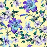 Tiger lilies on twigs on yellow background. Seamless floral pattern in vivid blue, purple, emerald green colors. Watercolor painting. Hand painted illustration stock illustration