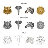 Tiger, lion, elephant, zebra, Realistic animals set collection icons in cartoon,outline,monochrome style vector symbol. Stock illustration Stock Photo