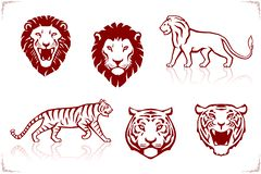 Tiger and lion Head front view and silhouettes Tattoo stock photography