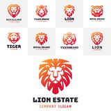 Tiger and lions face logo badge strength predator power wildcat vector illustration. Tiger head logo with beautiful animal. Vector hand drawn lion face Stock Images