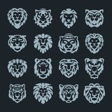 Tiger and lions face logo badge strength predator power wildcat vector illustration. Tiger head logo with beautiful animal. Vector hand drawn lion face Royalty Free Stock Photo