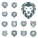 Tiger and lions vector head face silhouette badge strength predator power wildcat illustration power animal. Ancient guard ornate relief sculpture. Strength Royalty Free Stock Image