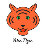 Tiger logo or icon in , color illustration,  wild ca Royalty Free Stock Image