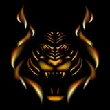 Tiger made of flame. Vector illustation on black gackground Stock Photo