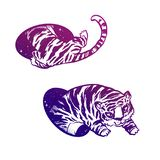 Tiger in magic teleport. Linear drawing in bright vibrant gradient color. Illustration of a flying tiger through a hole or portal. Teleportation. Fantasy hand royalty free stock images