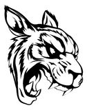 Tiger mascot character. A black and white illustration of a fierce tiger animal character or sports mascot Stock Photography