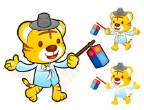 The Tiger Mascot is holding a lantern Building. Korea Traditiona Royalty Free Stock Photos