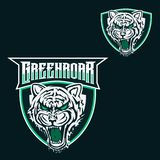 Tiger mascot logo template for sport, game crew, company logo, college team logo stock illustration
