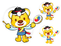 Tiger Mascot to play in South Korea are Samulnori performance. K Stock Photo