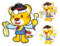 Tiger Mascot to play in South Korea are Samulnori performance. K Royalty Free Stock Photos