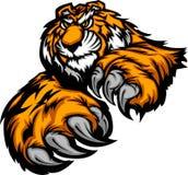 Tiger-Maskottchen-Karosserie mit den Tatzen und den Greifern Stockbilder