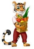 Tiger med en livsmedelsbutikpåse mycket av grönsaker och frukt stock illustrationer