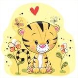 Tiger mit Blumen und Schmetterlingen Lizenzfreies Stockbild