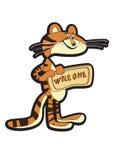 Tiger mit Tablette lizenzfreie abbildung