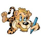 Tiger mit Zeichenstift Stockbild